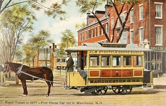 First horse car in Manchester, N.H. Public Domain
