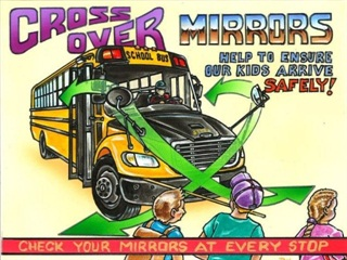 "Robie Hartling from Ottawa, Ontario, won first prize and received $1,000 for his ""Cross Over Mirrors"" artwork in National Express Corp.'s third annual safety poster contest."