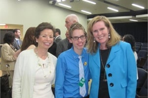 "First Student Director of Media Relations Maureen Richmond (right) met ""Bully"" star Alex Libby and Senior Advisor to President Obama Valerie Jarrett during a screening of the film at the White House."