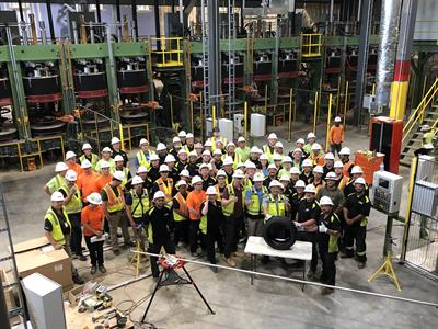Nokian Tyres celebrates the production of its first test tire at its U.S. factory in Dayton, Tenn.