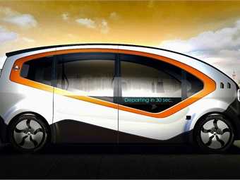 Created by Fisker, the Orbit autonomous electric shuttle is built to enhance the passenger experience in urban environments, including smart city ecosystems. Photo: Fisker Inc.