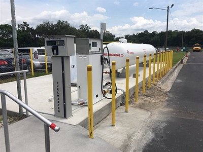Some of the school districts that added propane buses to their fleets installed on-site fueling stations due to the convenience and low cost.