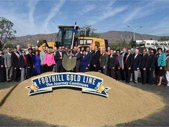 Dozens of elected officials join the Foothill Gold Line Construction Authority to break ground on the Foothill Gold Line light rail extension from Glendora to Montclair.