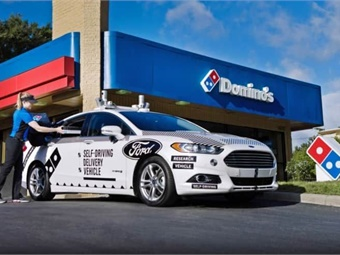 Dominos and Ford teamed up in 2018 to test how pizzas would be delivered with driverless vehicles.