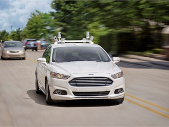 The idea of the partnership is that, one day in the future, a user can order a car through the Lyft app and have a self-driving Ford arrive at their doorstep to take the user to their destination. Photo: Ford
