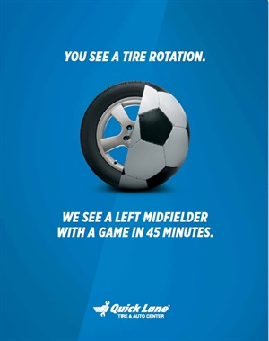 Convenience and time-saving expertise are the central theme of a new ad campaign by Quick Lane Tire & Auto Centers.