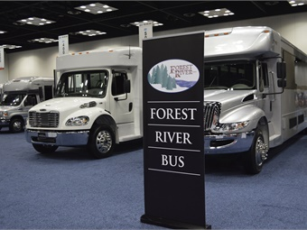 Forest River's booth featured all the latest vehicles from its brands, including Starcraft and Startrans.