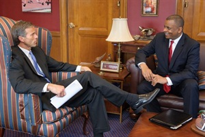 The Senate Committee on Commerce, Science and Transportation unanimously approved the nomination of Charlotte, N.C., Mayor Anthony Foxx (right) to be U.S. secretary of transportation. He is seen here meeting with Sen. John Thune last month.