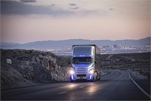 The Freightliner Inspiration Truck was unveiled in Las Vegas on Wednesday. It is designed to maintain legal speed, stay in the selected lane and keep a safe braking distance from other vehicles.