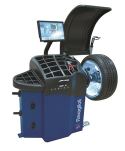 Rav America says its G7 Scan balancer positions a laser dot for the wheel weight within six seconds of lowering the hood.