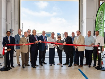 Transit, federal, state, and local officials gathered to cut the ribbon on GCTD's new facility.
