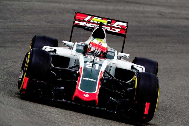 Gutierrez at the wheel of the Haas VF-16 during German Grand Prix.