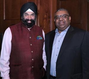 Surender Kandhari, left, and Prabhash Subasinghe celebrated the partnership between Al Dobowi Group and GRI.