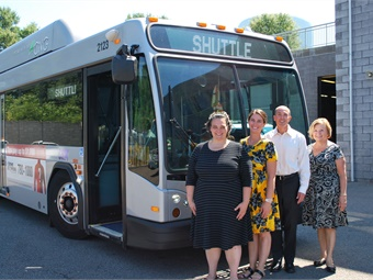 (Left to Right) Kristi McLaughlin, ESPAC Consultant, Owner McLaughlin & McLaughlin LLC; Kelsey Calder, GRTC Travel Training Instructor; David Green GRTC CEO; and Roberta Yegidis, Center for Urban Transportation Research at an event honoring Calder's acheivement.GRTC