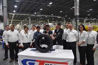 Giti hosted a ceremony at its South Carolina tire manufacturing plant to mark (from left) Kazuya Taguchi, Ryan Litteral and Travis Reeder signing on to the GT Radial Formula Drift team. GT Radial extreme performance SX2 RS tires are produced at the plant.