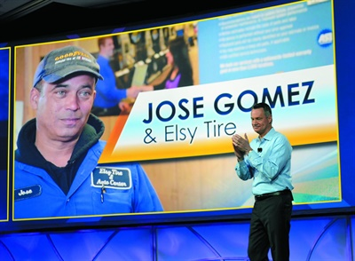 """One of the highlights of the dealer conference was the remarkable story of Jose Gomez and Elsy Auto Repair Inc. in Newark, N.J. Gomez said thanks to Goodyear, he """"easily"""" sells more tires a week today than he did the entire first five years he was in business. """"I have to say I don't ever recall seeing a more powerful example of what our products and services can do,"""" said Goodyear Chairman, CEO and President Rich Kramer."""