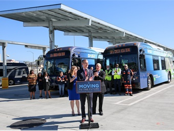 Mayor Garcetti's announcement was made at LADOT's new, state-of-the-art bus maintenance yard — a three-acre, LEED Platinum-certified facility with solar panel canopies and EV charging infrastructure.