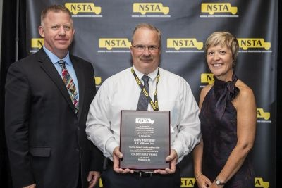 Gary Remster (center) of B.R. Williams Inc. was one of the recipients of NSTA's Golden Merit Award. He is seen here with NSTA President Blake Krapf and Chloe Williams of B.R. Williams Inc.
