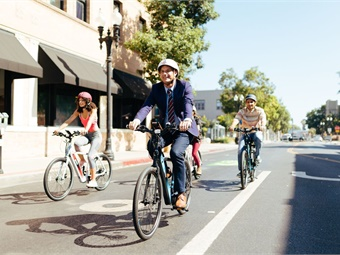 """Shared electric bikes or scooters offer the ultimate in personal mobility, covering the """"first mile and last mile"""" of a trip, between the bus or train station and a commuter's residence or workplace. Photo: GenZe"""
