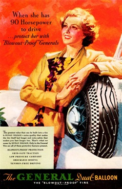 """In 1935, General Tire promoted """"blowout proof protection"""" in an ad in the calendar shown on the left."""