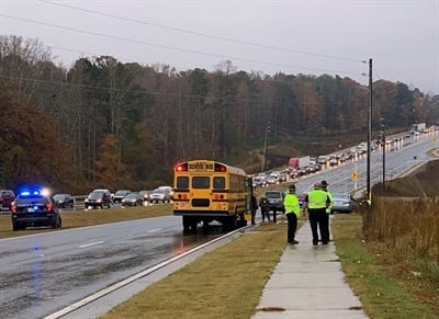 Christopher Frachiseur, 19, failed to stop for the stopped school bus, jumped the curb, and traveled to the right passenger side of the bus, hittinga man and two students from the same family. Photo courtesy Forsyth County Sheriff's Office