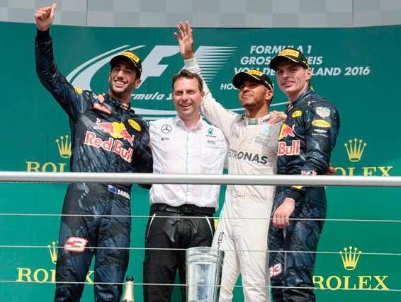 The Formula One podium celebration at Hockenheim.
