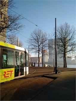 Tram near River Maas, Rotterdam