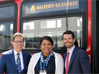 (From left to right): Joe Policarpio, VP of Sales and Marketing, GILLIG; Inez Evans, Chief Operating Officer, Santa Clara Valley Transportation Authority; and Derek Maunus, President and CEO, GILLIG, take a test ride on the Battery Electric Bus at GILLIG's Livermore facility. Courtesy of Breslow Imaging/GILLIG