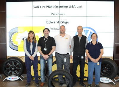 Volkswagen's Edward Gligu (second from right) is pictured with Giti employees (from left) Carole Wilbert, David Dobradenka, Tim Fulton and Lisa Thomas.