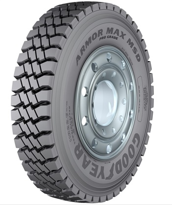 Goodyear's new Armor Max Pro Grade MSD tire for rugged mixed-service applications has a built-in tire sealant.
