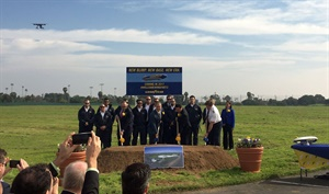 The Goodyear team poses for a photo after announcing plans to build an inflatable hangar for its new Wingfoot Two blimp, which is scheduled to arrive in Carson, Calif., by the end of the year. (Photo by Nancy Kirk)
