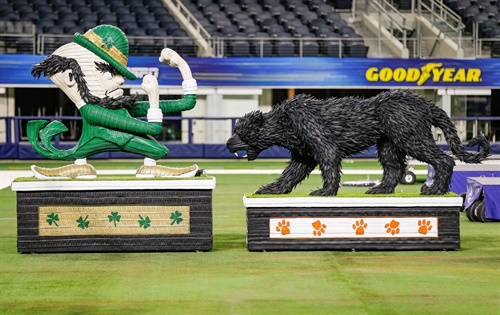 Goodyear unveiled its life-sized sculptures made of tires on Dec. 27 at AT&T Stadium.