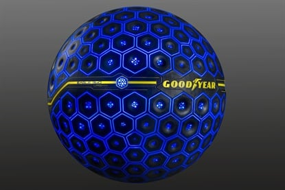 The Goodyear Eagle 360 Urban is powered by an artificial intelligence unit int he core of the tire.