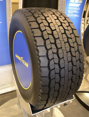 Both the new Fuel Max SSD (pictured)  and Fuel Max SST wide base tires are built with DuraSeal, Goodyear's self-sealing gel which is designed to instantly seal nail-hole punctures of up to ¼-inch in diameter in the repairable area of the tread.