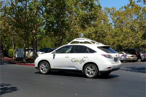 Google Self-Driving Car driving around the Google campus in Palo Alto, Calif. Photo: Roman Boed via Flickr