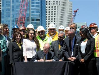 Governor Brown signed SB 1029 at the historic Union Station in downtown Los Angeles, the site of one of the many regional systems receiving funding through this legislation. The Governor also appeared later in the day in downtown San Francisco at the future site of the Transbay Transit Center. Both of these stations will serve as major hubs of the future high-speed rail line. Photo courtesy of Office of Governor Edmund G. Brown Jr.