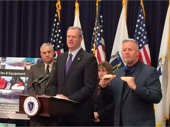 Massachusetts Governor Charlie Baker during press conference. Courtesy MBTA