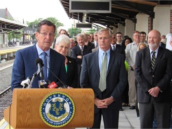 Governor Dannel Malloy speaking at the July 2017 CTrail Hartford Line service provider press conference. Photo: CTDOT