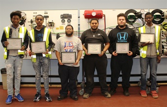 Students with their certificates after completing program. SEPTA
