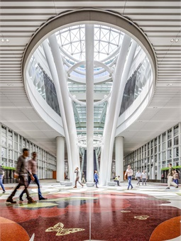 The transit center's name is the result of a naming rights agreement with San Francisco-based cloud computing company, Salesforce. Photo: © Tim Griffith