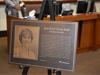 A plaque to be erected inside the entrance to the hall highlights accomplishments during Earl's tenure at Sound Transit. Photo: Sound Transit