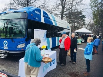 One of Greater Portland METRO's new buses, built by New Flyer, was on view at the Portland Farmers' Market at Deering Oaks Park where visitors stopped by to get a closer look and meet with METRO staff. Photo: METRO
