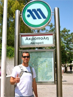 Readying to ride the Athens Metro.