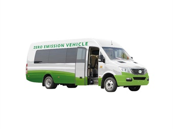 The EV Star is an all–electric, zero emission, 25-foot bus that seats up to 19 passengers, with an operational range of 100 to 150 miles on a single charge.