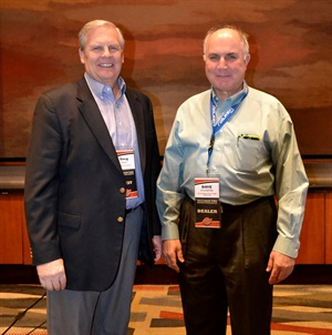 Greg Smith, left, publisher of MTD, presented Sylvester with the K&M Mr. Tire and Big 3 Tire 2019 Commercial Tire Dealer of the Year Award at the recent K&M dealer meeting.