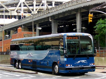 Greyhound Bus departing Port Authority Bus Terminal, NYC.Photo: Wikipedia/Adam E. Moreira)