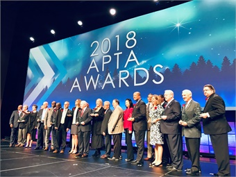 The American Public Transportation Association (APTA) honored top public transit agencies and industry leaders at the 2018 APTA Awards in Nashville, Tenn., during the 2018 APTA Annual Meeting held Sept. 23 to 26. Photo: METRO Magazine