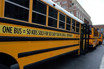 Gwinnett County (Ga.) Public Schools supplied the nonprofit Street Grace with 72 buses, drivers, and other staff to drive through Atlanta and raise awareness of human trafficking.