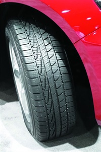 Goodyear's new Assurance WeatherReady has an asymmetric tread pattern. The tire will replace the AssuranceTripleTred.