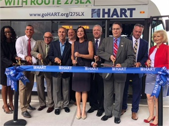 HART, TPA, and local officials took part in the ribbon cutting for Route 275LX to the airport.